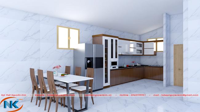 Tổng thể phòng bếp hiện đại, phối màu hài hòa giữa tủ bếp với bộ bàn ăn tạo không gian bếp nhẹ nhàng, tinh tế