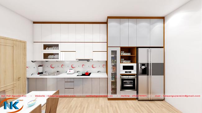 Tủ bếp acrylic chữ I màu trắng bóng gương cho tủ bếp trên và màu xám cho tủ bếp dưới vô cùng hài hòa, sang trọng