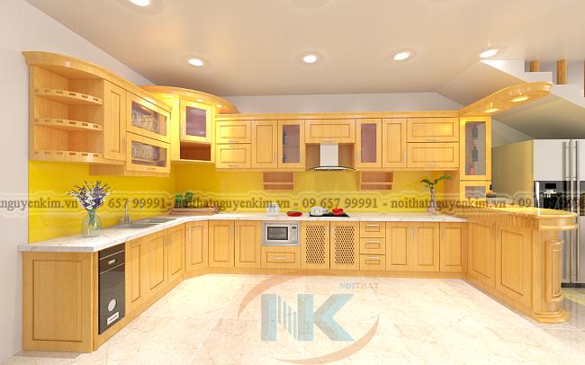 Tủ bếp gỗ sồi nga thiết kế chữ U kết hợp quầy bar nhỏ