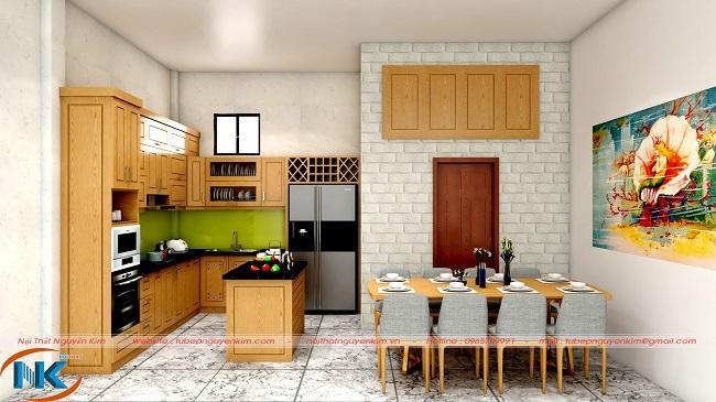 Mẫu tủ bếp gỗ sồi mỹ hiện đại với bàn đảo soạn đồ tiện nghi, tối ưu công năng sử dụng nhà bếp