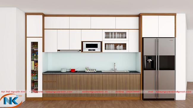 Mẫu tủ bếp gỗ acrylic chữ I chung cư kết hợp màu trắng và màu vân gỗ tạo sự cân đối, hài hòa màu sắc