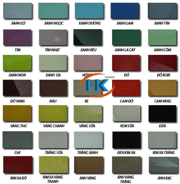 Bảng mã màu kính ốp bếp với nhiều màu sắc đa dạng, dễ dàng lựa chọn màu hợp phong thủy
