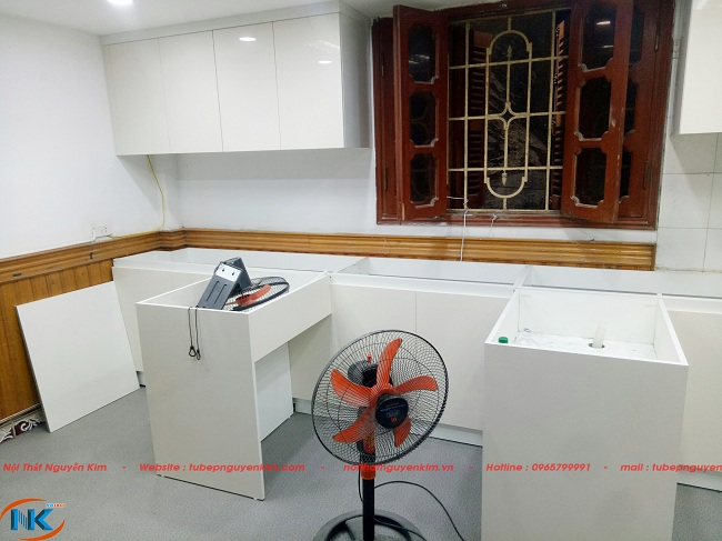 Thi công tủ bếp laminate nhà chị Hà, Hoàng Đạo Thúy, Cầu Giấy