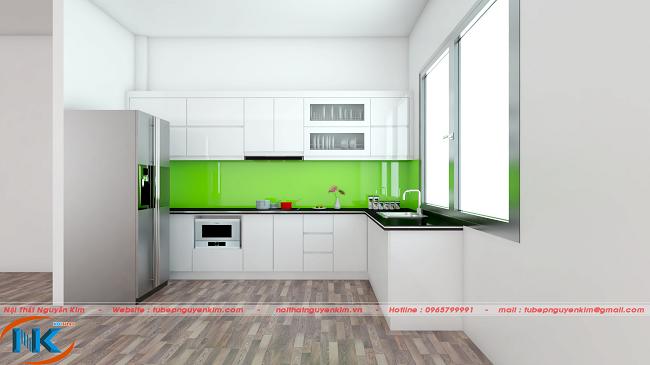 Mẫu tủ bếp acrylic màu trắng bóng gương cao cấp của An Cường