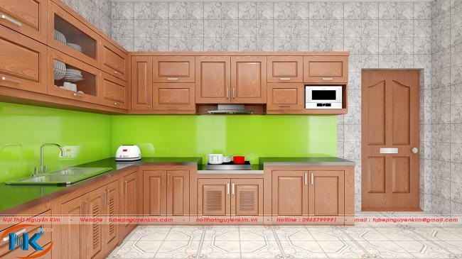 Với mỗi góc nhìn khác nhau, bộ tủ bếp đẹp hoàn hảo, có chiều sâu cho không gian bếp rộng hơn