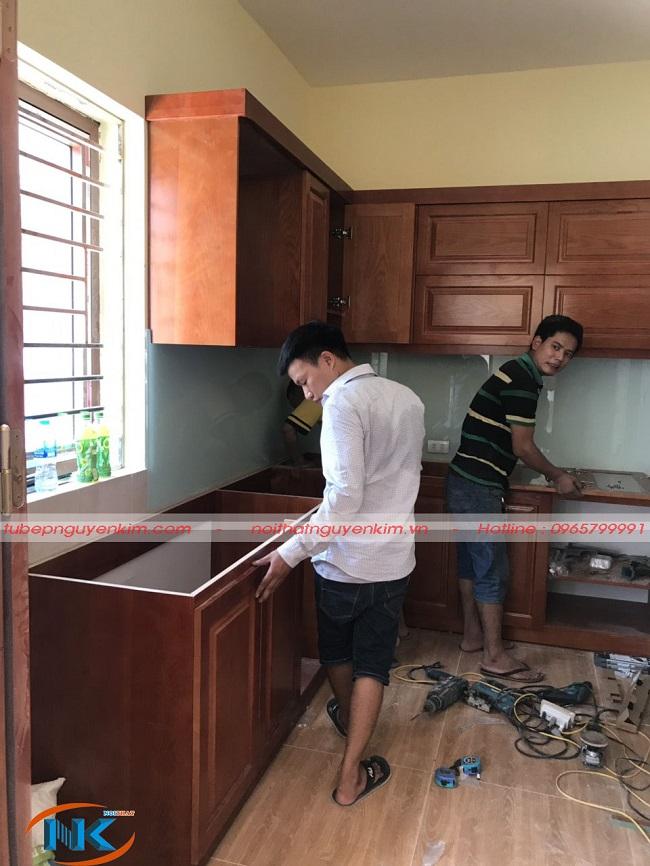 Tủ bếp nhà anh Hoàng đang được thi công bởi Nội thất Nguyễn Kim
