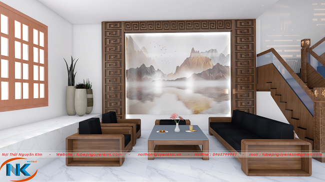 Phòng khách sang trọng, hiện đại sử dụng tông màu vân gỗ trầm chất liệu gỗ laminate