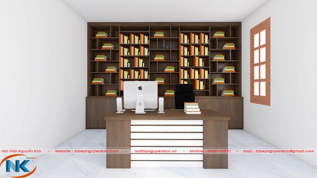 Giá sách phía sau bàn làm việc được thiết kế hết chiều rộng căn phòng, là nơi gia chủ để sách, tài liệu làm việc trang trí đẹp mắt