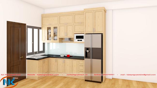 Tủ bếp gỗ sồi nga kịch trần lựa chọn hoàn hảo cho phòng bếp nhỏ chung cư, nhà ống