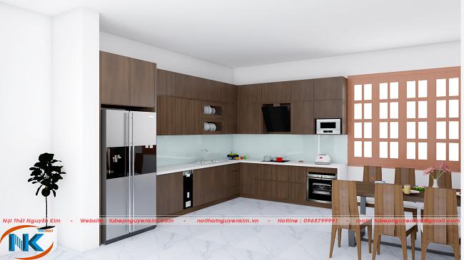 Thiết kế tủ bếp chữ L tối ưu không gian, diện tích rộng rãi, thoáng mát cho căn bếp