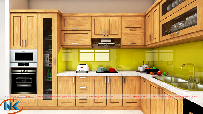 Mẫu tủ bếp chữ L gỗ sồi nga hiện đại, đẹp và sang trọng