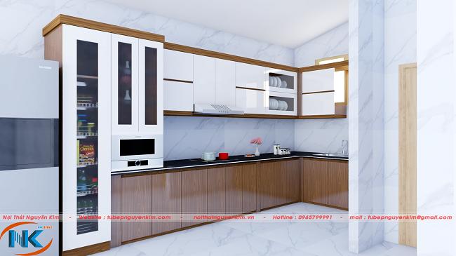 Khi nhìn gần bộ tủ bếp đẹp hoàn hảo, thiết kế tối ưu công năng sử dụng. Tủ kho và tủ rượu là điểm nhấn, ấn tượng cho mẫu tủ bếp chữ L này