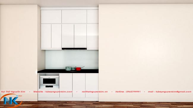 Hình ảnh tủ bếp acrylic an cường trên bản vẽ 3D nhà cô Cúc