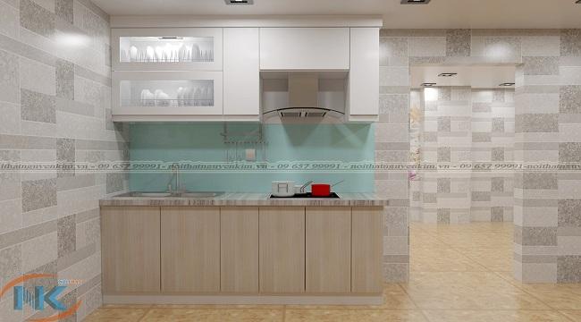 Mẫu tủ bếp cho gia đình này tuy nhỏ xinh nhưng thiết kế tối ưu công năng sử dụng cho gia đình bạn