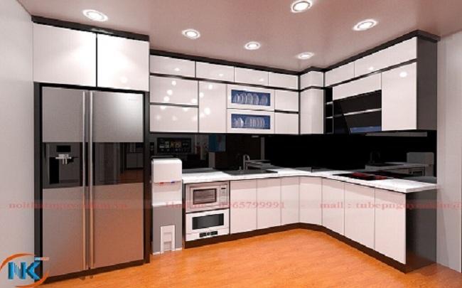 Mẫu tủ bếp gỗ acrylic màu trắng sử dụng cốt gỗ mdf lõi xanh