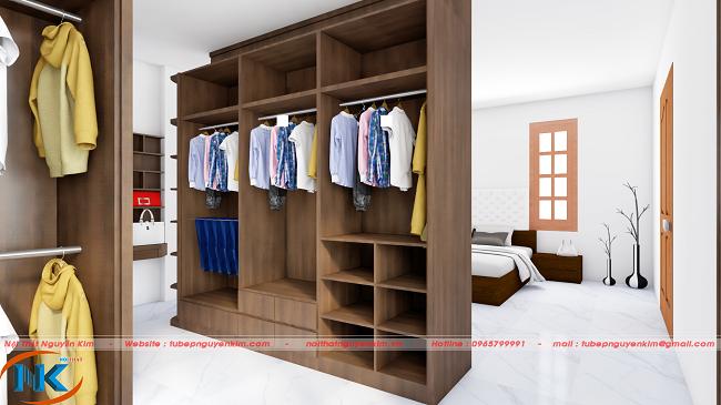 Tủ áo phòng ngủ gỗ laminate thiết kế tối ưu công năng có ngăn treo đồ, ngăn để quần áo gấp và kệ trang trí hiện đại