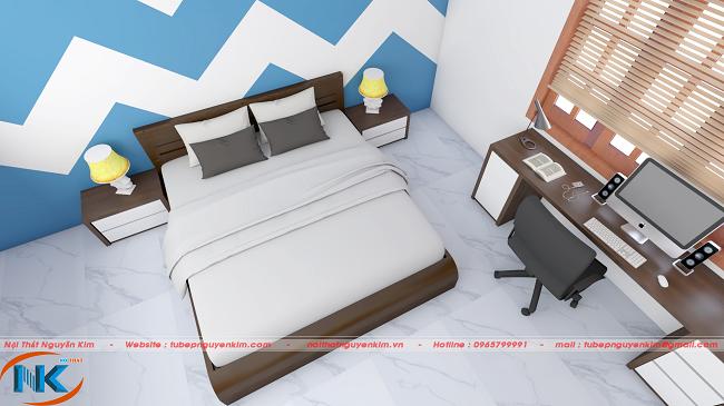 Phòng ngủ đẹp nhẹ nhàng vẫn nổi bật lên màu vân gỗ laminate đẹp sang chảnh
