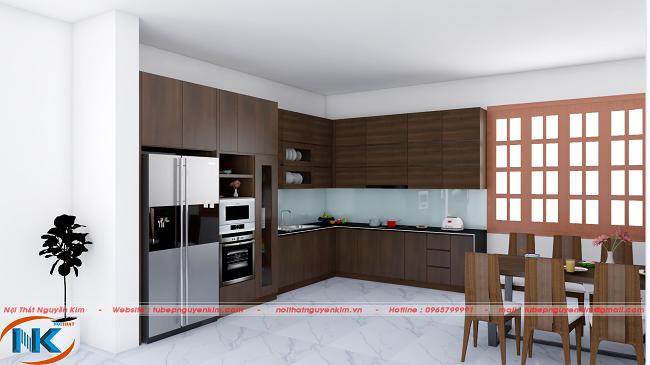 Mẫu tủ bếp gỗ laminate chữ L sử dụng tông màu nâu sang trọng, hiện đại và bền màu