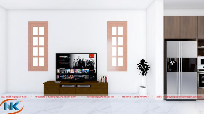 Kệ tivi xinh xắn cùng tông màu trầm với bộ sôfa và cầu thang