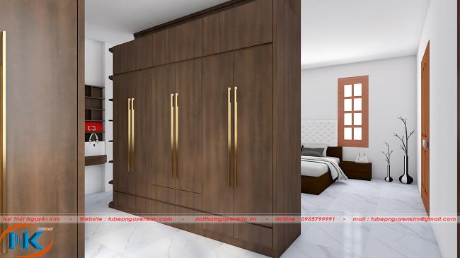 Tủ áo phòng ngủ đẹp sang chảnh hơn với tay nắm dài màu bạc nổi bật