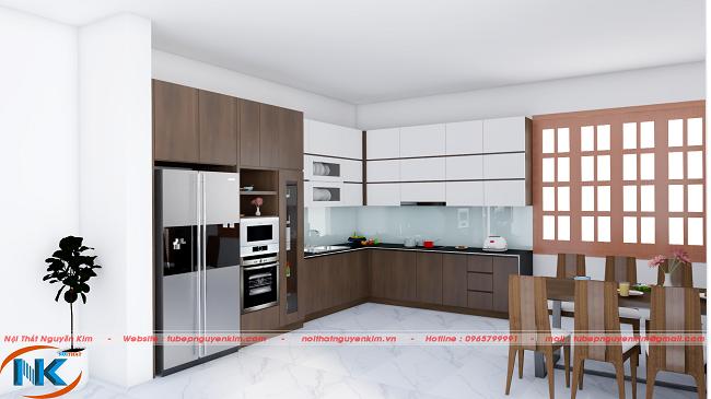 Mẫu tủ bếp gỗ acrylic kết hợp giữa cánh tủ acrylic màu trắng bóng cùng với laminate nâu đậm sang trọng