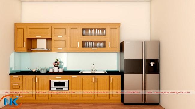 Tủ bếp gỗ dổi chữ I đơn giản, nhẹ nhàng cùng màu vàng đậm đặc trưng