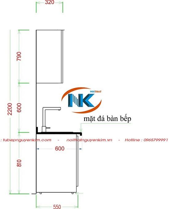 Kích thước tủ bếp chuẩn theo chiều cao người Việt Nam