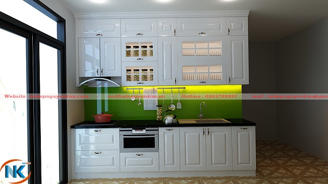 Tủ bếp gỗ sồi nga sơn trắng chữ I kịch trần tại nhà chị Thúy, chung cư Đại Kim, Hoàng Mai