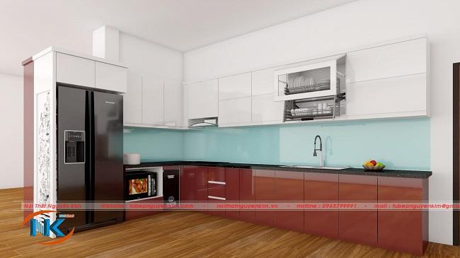 Mẫu tủ bếp acrylic ACR35 kết hợp hoàn hảo màu sắc hiện đại giữa đỏ rượu và màu trắng bóng gương