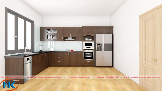 Mẫu tủ bếp gỗ óc chó chữ L theo phong cách hiện đại