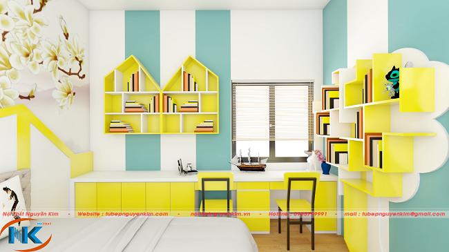 Gam màu vàng tươi khá nổi bật, tạo điểm nhấn cho phòng ngủ của bé