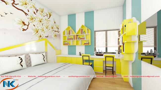 Không gian chung cho phòng ngủ của các con gia đình chị Quỳnh Anh