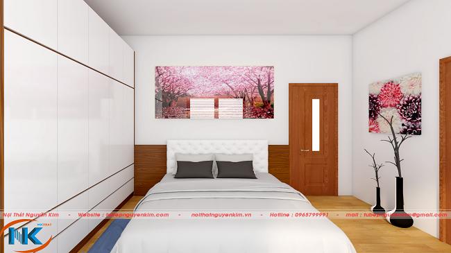 Mẫu thiết kế phòng ngủ master đẹp với gam màu trắng và nổi bật hơn với cách bài trí đồ nội thất