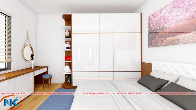 Mẫu phòng ngủ đẹp gia đình chị Quỳnh Anh lựa chọn để Nguyễn Kim thi công