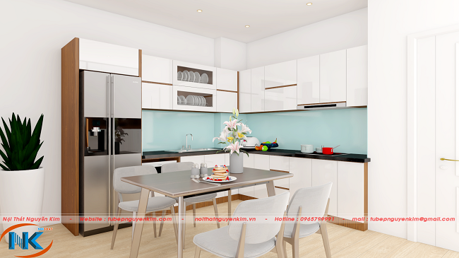 Mẫu tủ bếp acrylic màu trắng chữ L không gian chung mở rộng, thoáng mát rất nhẹ nhàng cho căn hộ chung cư