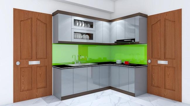 Mẫu tủ bếp acrylic an cường chữ L xinh xắn màu xám sang trọng nổi bật không gian hiện đại phòng bếp