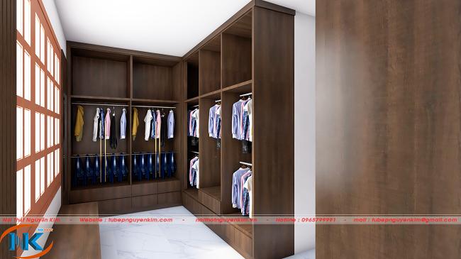 Tủ áo gỗ công nghiệp melamine trên bản vẽ 3D