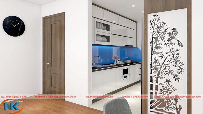 Tủ bếp acrylic màu trắng thiết kế kịch trần được các gia đình sống tại chung cư tin dùng