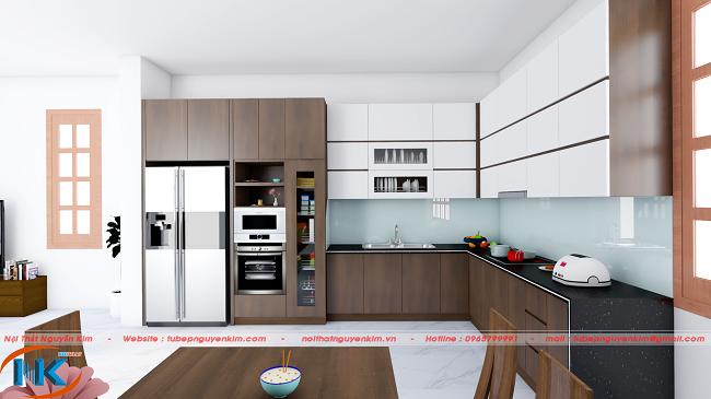 Mẫu tủ bếp màu nâu chất liệu gỗ công nghiệp laminate kết hợp cánh acrylic an cường