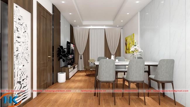 Không gian tổng thể phòng khách gia đình chị Phượng với căn hộ 74m2