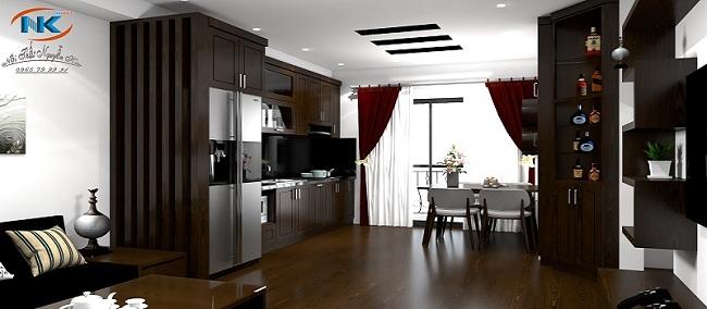 Tủ bếp gỗ tự nhiên sồi nga màu nâu hài hòa cùng không gian nội thất chung phòng khách