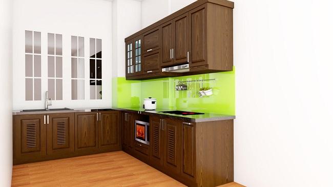 Mẫu tủ bếp gỗ sồi màu nâu cuốn hút, lịch lãm nổi bật không gian phòng bếp