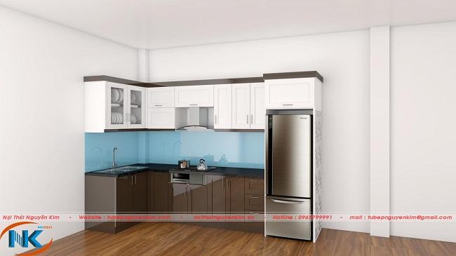 Tủ bếp gỗ an cường kết hợp màu trắng và màu nâu sang trọng, bền màu