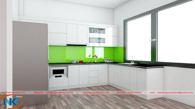 Mẫu tủ bếp nhựa acrylic màu trắng đơn giản rất hiện đại cho phòng bếp rộng mở, tươi sáng hơn
