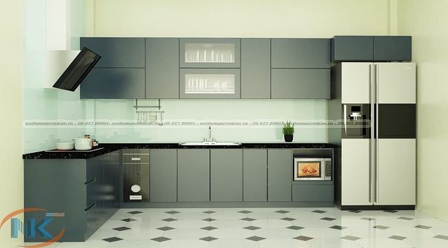 Mẫu tủ bếp màu xám chữ L chất liệu gỗ acrylic an cường
