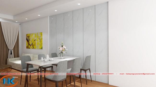 Hình ảnh phòng khách, bộ bàn ăn trên bản vẽ 3D
