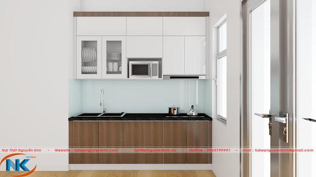 Không gian bếp chung cư nhỏ xinh tham khảo ngay mẫu tủ bếp nhựa acrylic chữ I này