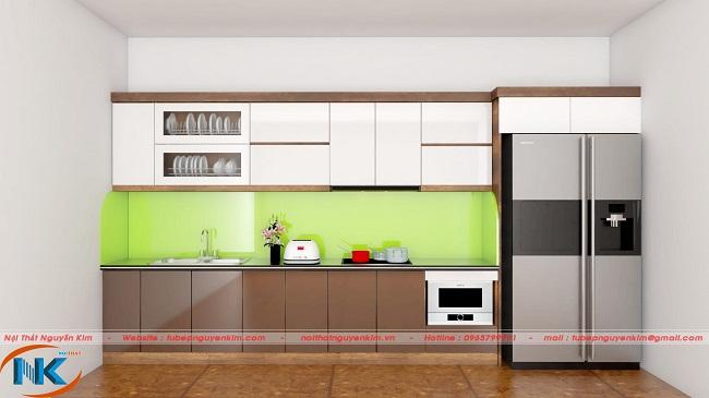 Màu sắc hài hòa là điểm tối ưu của mẫu tủ bếp chữ I này