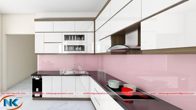 Các khu vực chức năng chính của căn bếp được bố trí khoa học, hợp lý rất tiện dụng
