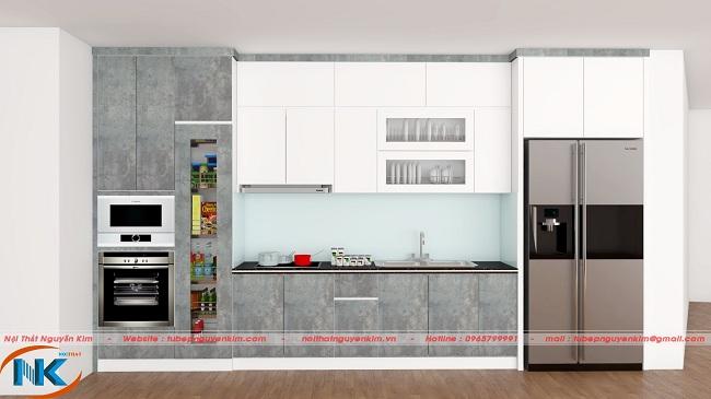 Màu trắng kết hợp màu xám rêu đem lại vẻ đẹp phóng khoáng cho phòng bếp mọi gia đình
